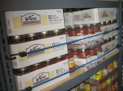 Bungee Cords Holding Food Storage on Shelf Earthquake Preparedness