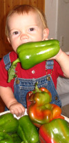 Child Eating Peppers