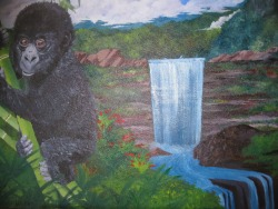 Baby Gorilla Oil Painting