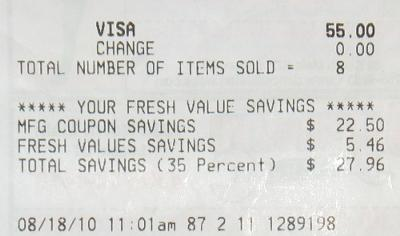 Receipt for Diapers August 18, 2010