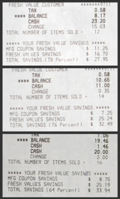 Receipts Aug 12, 2010