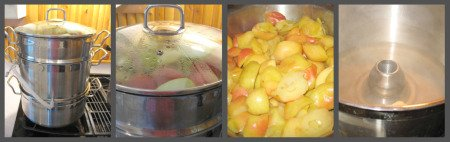 Using a steamer juicer  to soften apples
