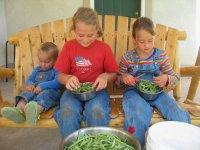 Canning Green Beans - Children Snipping Green Beans