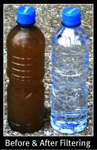 Backpacking Water Filter Before and After Filtering