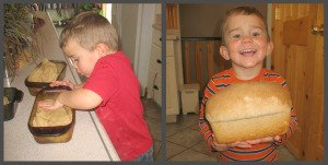 Child Making & Holding Homemade Wheat Bread