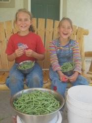Children Snipping Green Beans