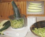 Shredding zucchini with food processor