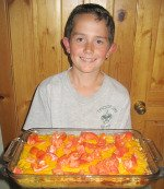 Jared Holding His Casserole